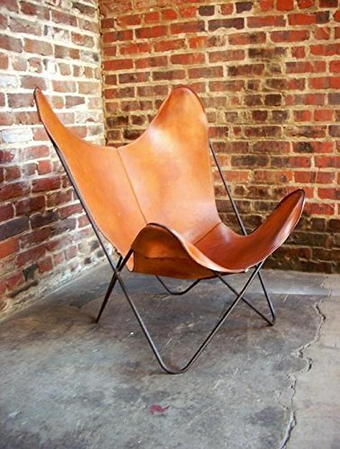 JGARTS Brown Leather ARM Chair Butterfly Leather Butterfly Chair