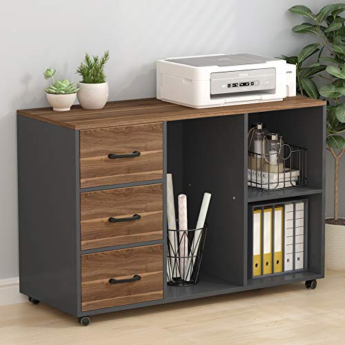 Tribesigns Wood File 3 Drawer Printer Stands Modern Filing Cabinets Wheels