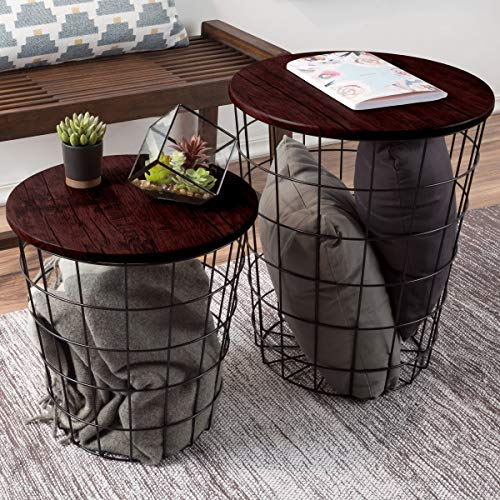 Lavish Home Nesting End Tables with Storage