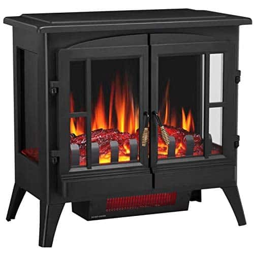 Joy Pebble Compact Electric Fireplace Heater with Freestanding Design