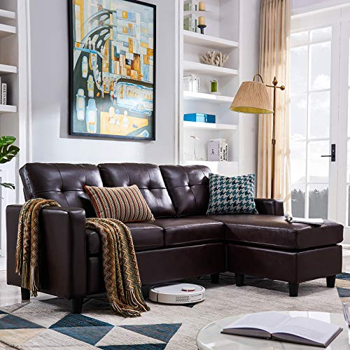 HONBAY Sofa Couch Convertible Sectional Leather L-Shape Modern Faux Couch