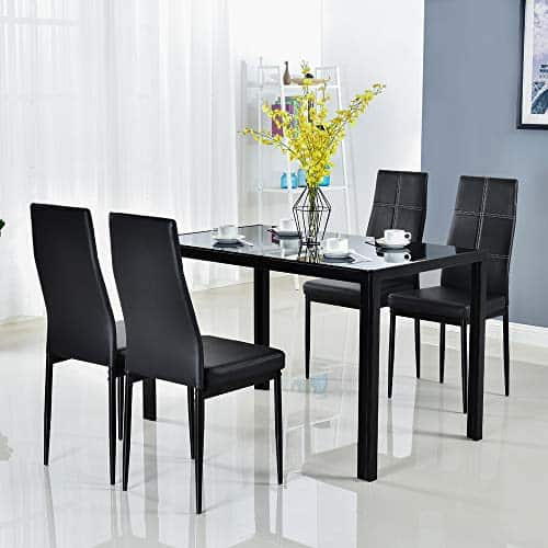 BONNLO Dining Set Black Dining Table and Chairs Set