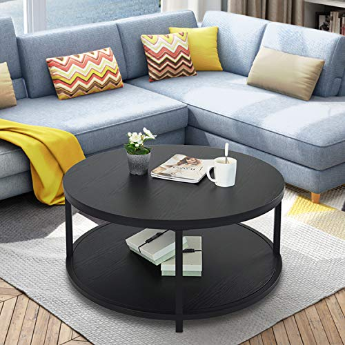 caraHOME Round Coffee Table with Two Tier Design
