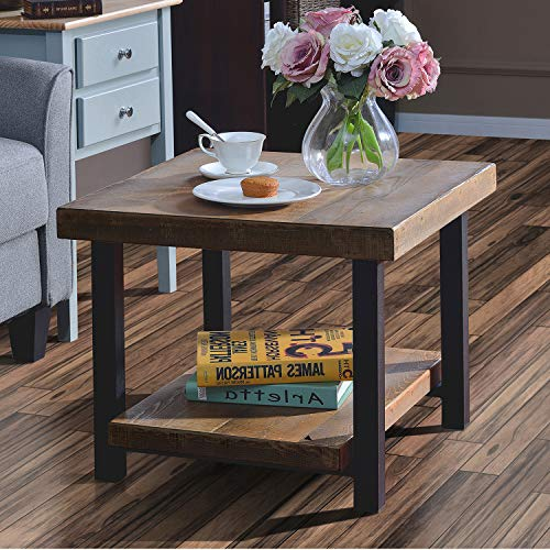 Hillside Rustic Natural End Table with Storage Shelf